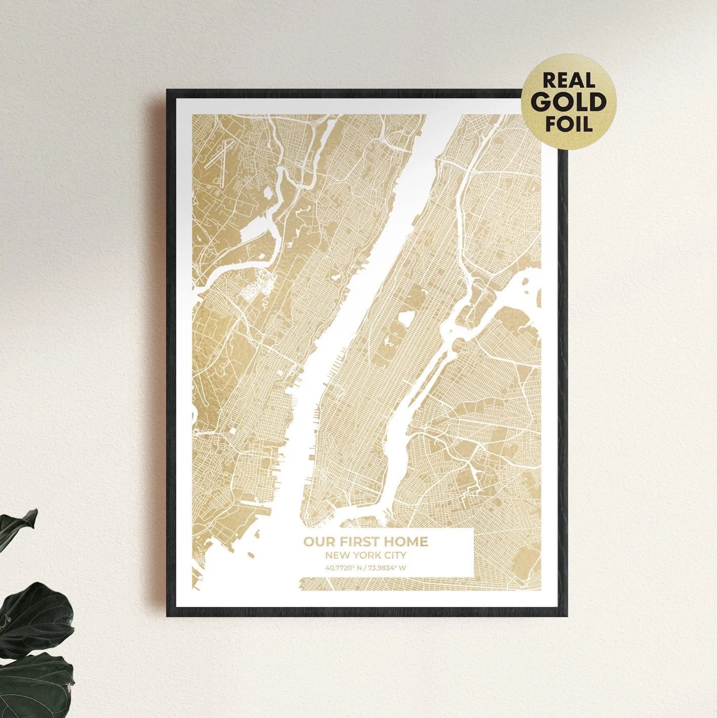 Gold custom map print the perfect anniversary gift or image 1