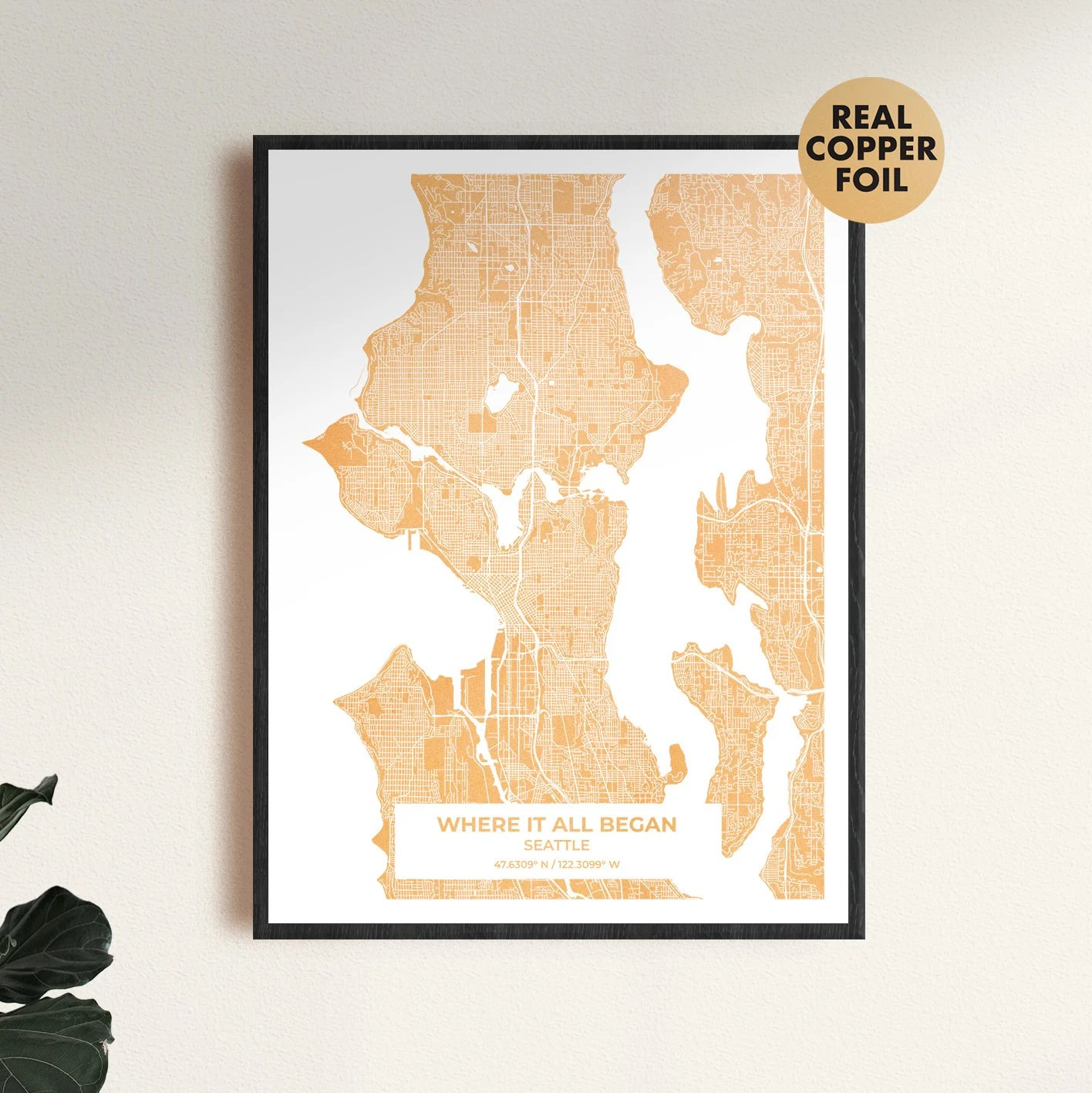 Gold custom map print the perfect anniversary gift or image 5
