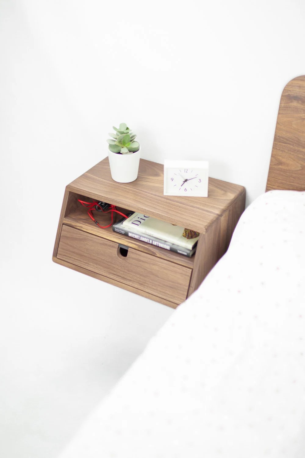 Floating Nightstand Bedside Table Floating Bedside Console Mid Century Modern