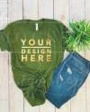 Olive Bella Canvas 3001 Mockup Flat Lay Unisex T Shirt Etsy