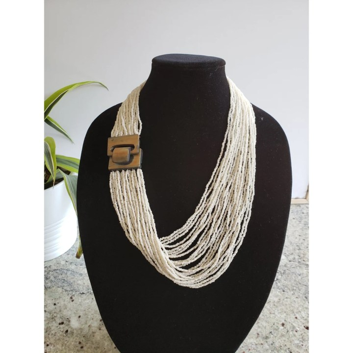 Seed Bead White Layered Necklace with Natural Horn Toggle  image 0