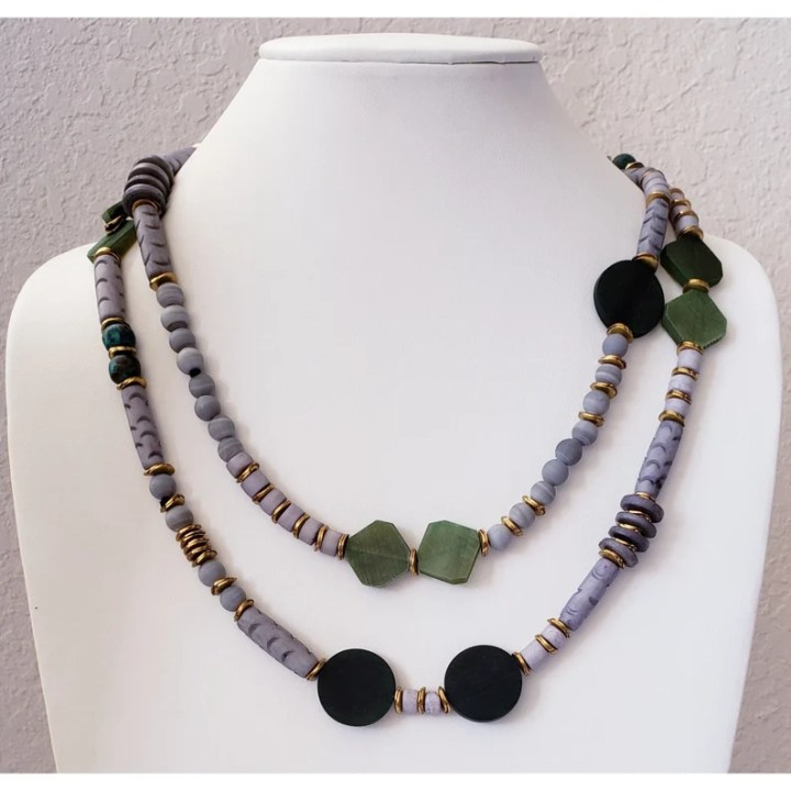 Long Wrappable Bone Horn and Copper Necklace long bone bead image 0