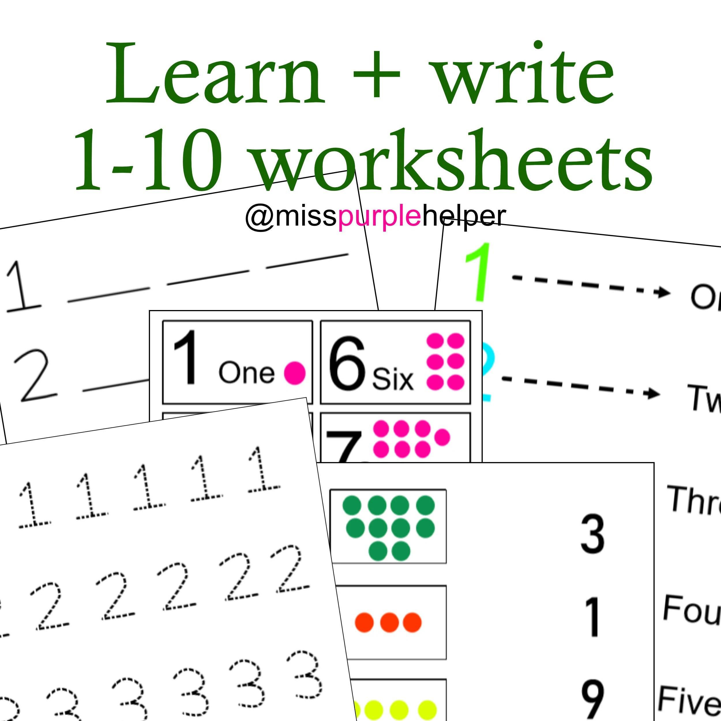 Learn Write 1 10 Number Worksheets Preschool Maths