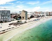 Cancun Mexico Aerial City Shot
