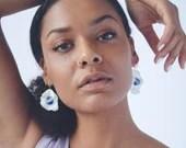 Porcelain handmade earrings, organic, one of a kind