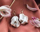 Handmade porcelain and Gold Filled earrings, wrinkled organic shaped jewelry, one of a kind present for her