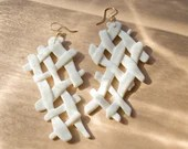 Porcelain handmade weave earrings, unique statement jewelry, one of a kind present for her