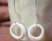 Handmade porcelain and Sterling Silver wabi sabi earrings, unique one of a kind present for her