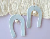 Handmade porcelain blue arch earrings, unique statement jewelry, one of a kind present for her