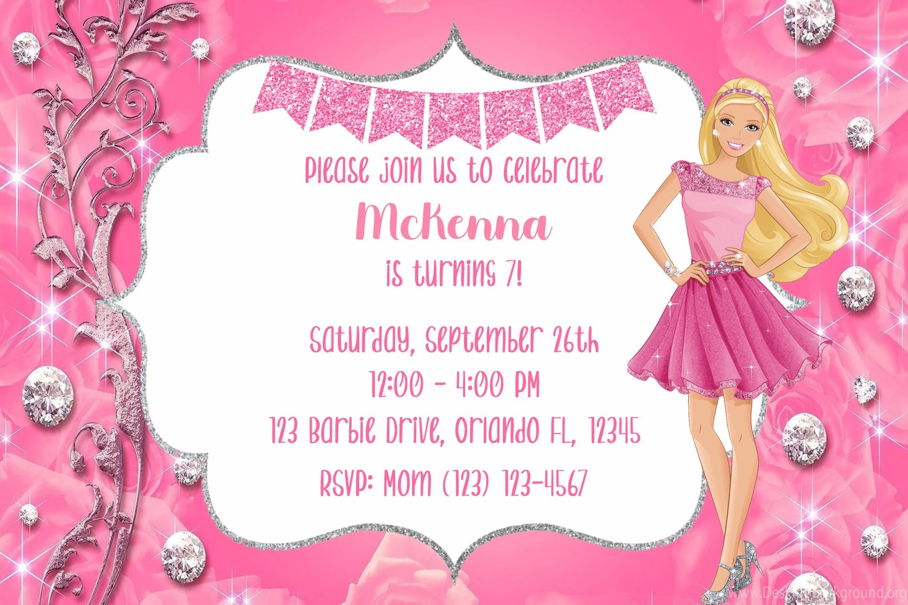 barbie birthday invitations etsy
