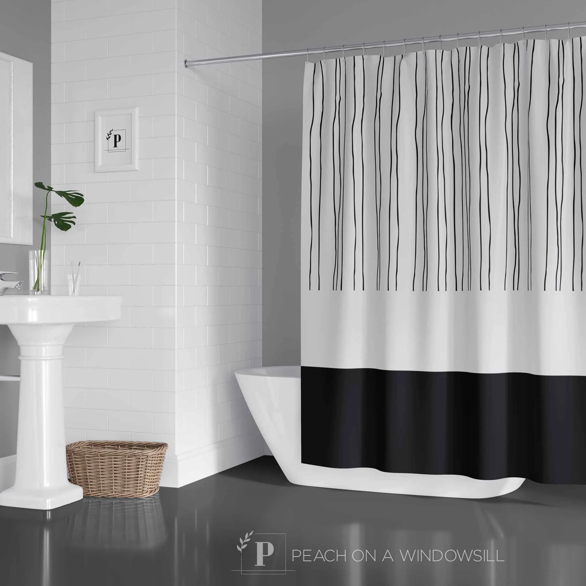 mid century shower curtain abstract pattern design bath curtain in black and white modern bathroom decor