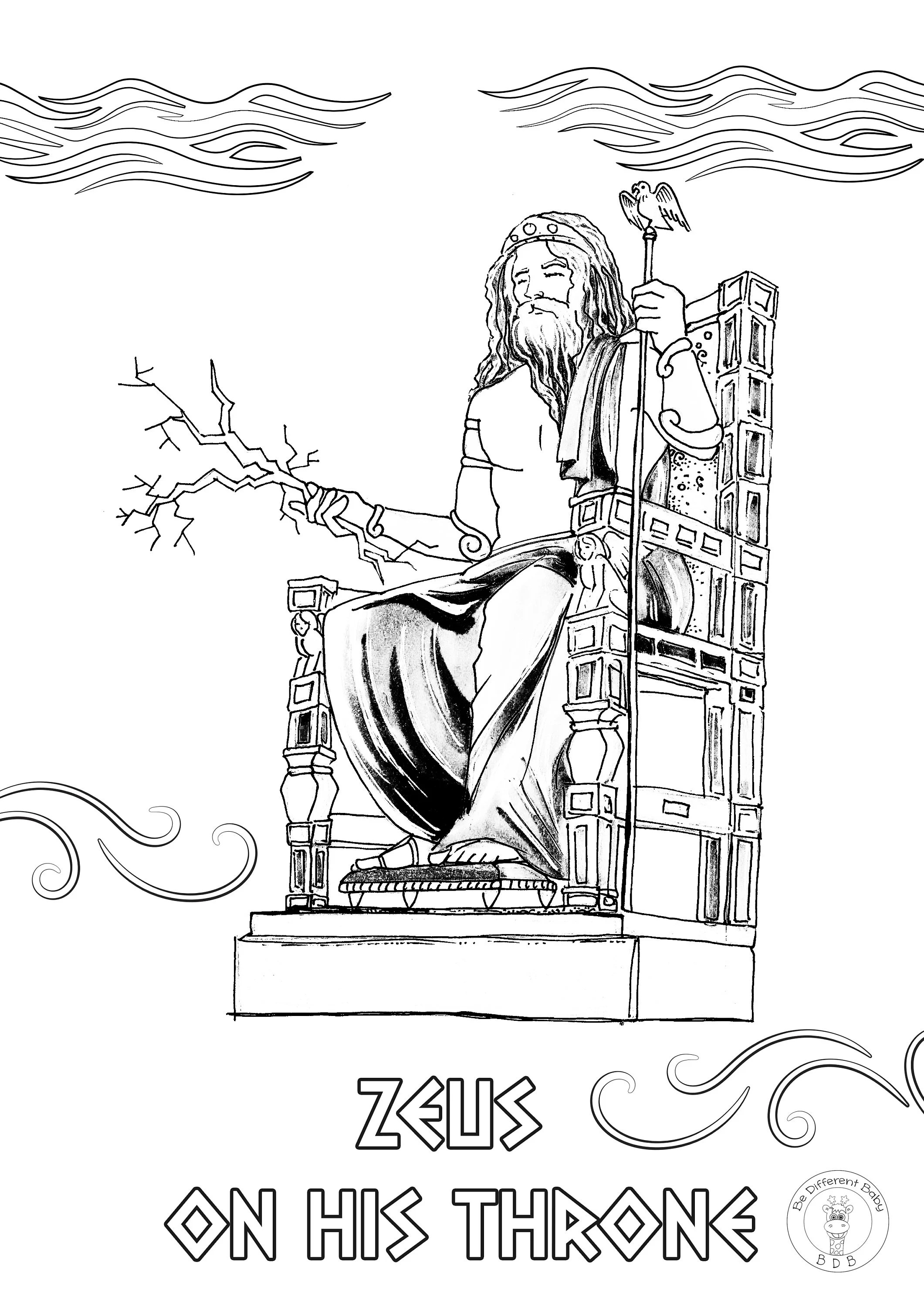 Greek Gods Coloring Book/ 34 downloadable pages full of
