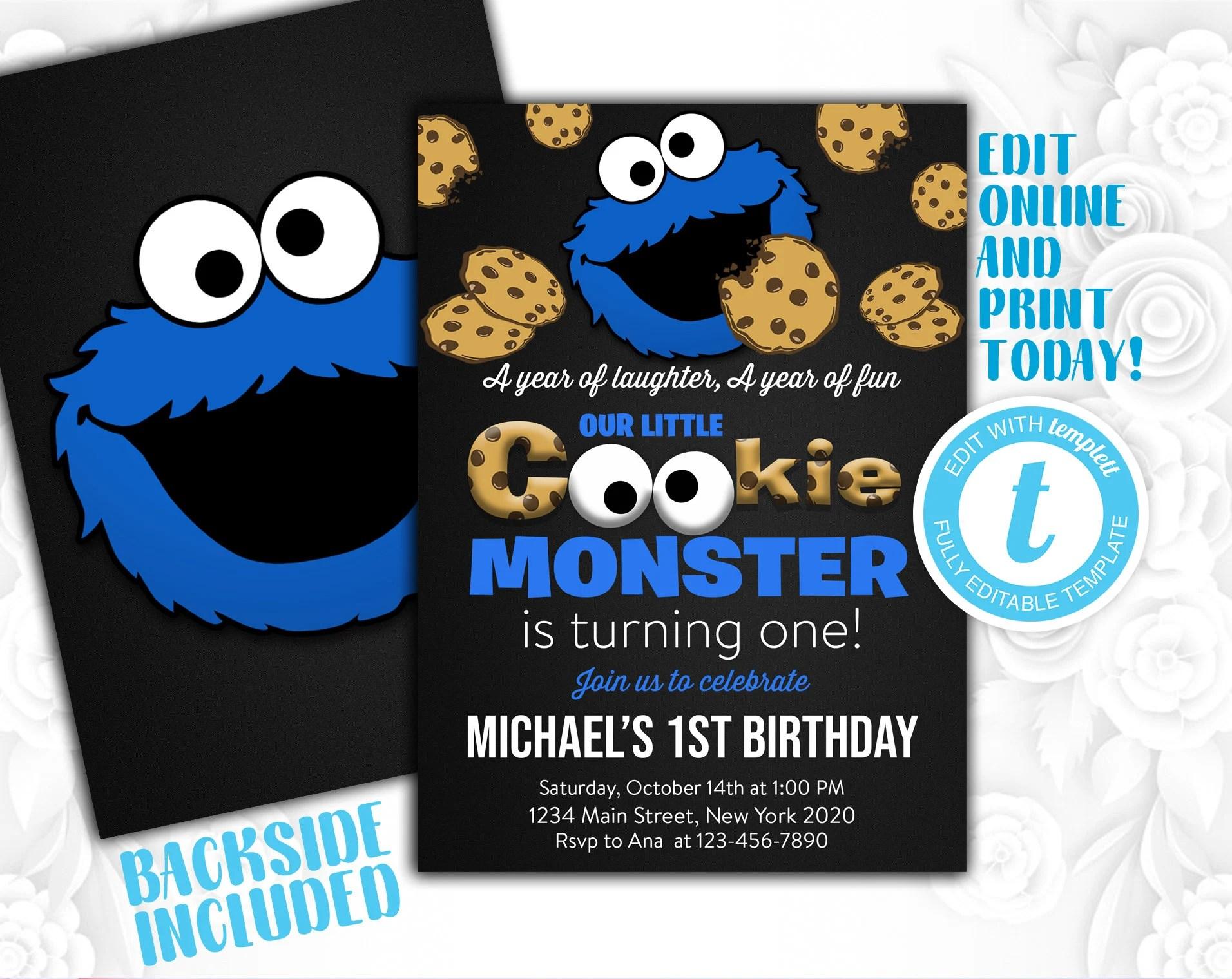 cookie monster invitation cookie monster birthday cookie monster invite cookie monster party cookie monster pdf cookie monster edit
