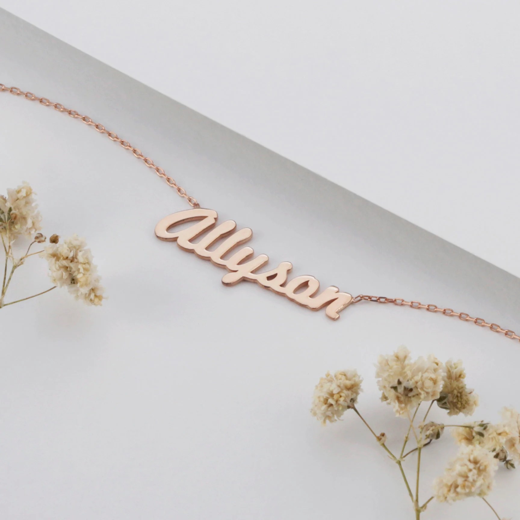 Sterling Silver Gold Rose Gold Personalized Name Necklace image 1
