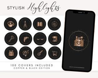 Black Glitter Instagram Highlight Covers Rose Gold Instagram Etsy