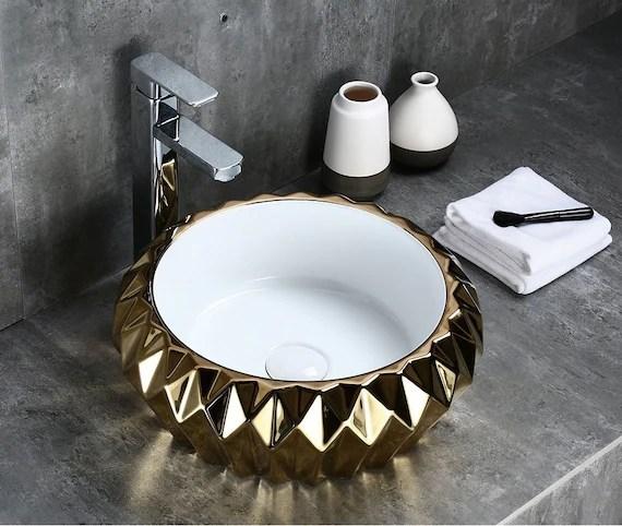 vessel sink above counter counter top wash basin bathroom porcelain vanity sink bowl for lavatory clockroom 42 x 42 x 15 cm gold white