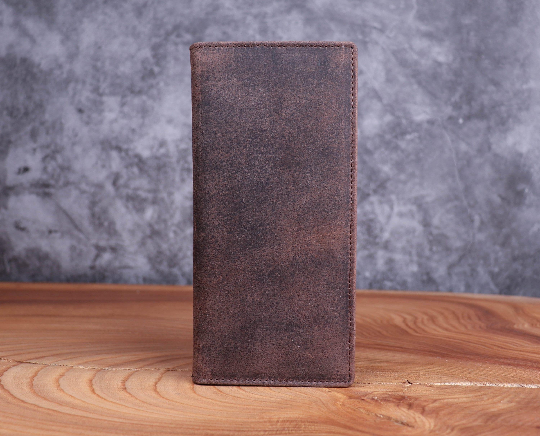 Long Slim Distressed Leather Wallet Full Grain in Brown  image 2