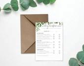 Wedding Breakfast Menu on Laid Textured Card - Foliage Eucalyptus Design - A5, A6 sizes