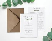 Eucalyptus Wedding Evening Invitation, Foliage Wedding Information Card, Double Sided, Laid Textured Card, Foliage, Leaves, Modern Invite