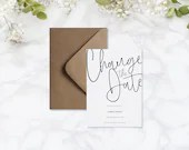 Wedding Change the Date on Laid Textured Card - Save the date - Minimalist Script Design - A6 and A7 size