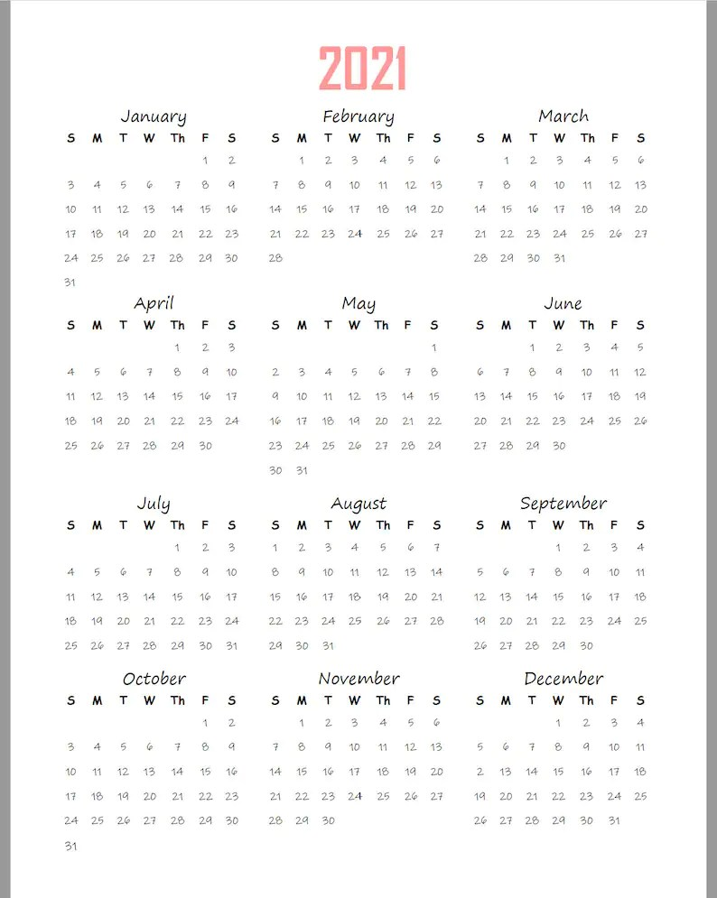 2021-2022 Yearly Calendar At A Glance Printable Planner | Etsy