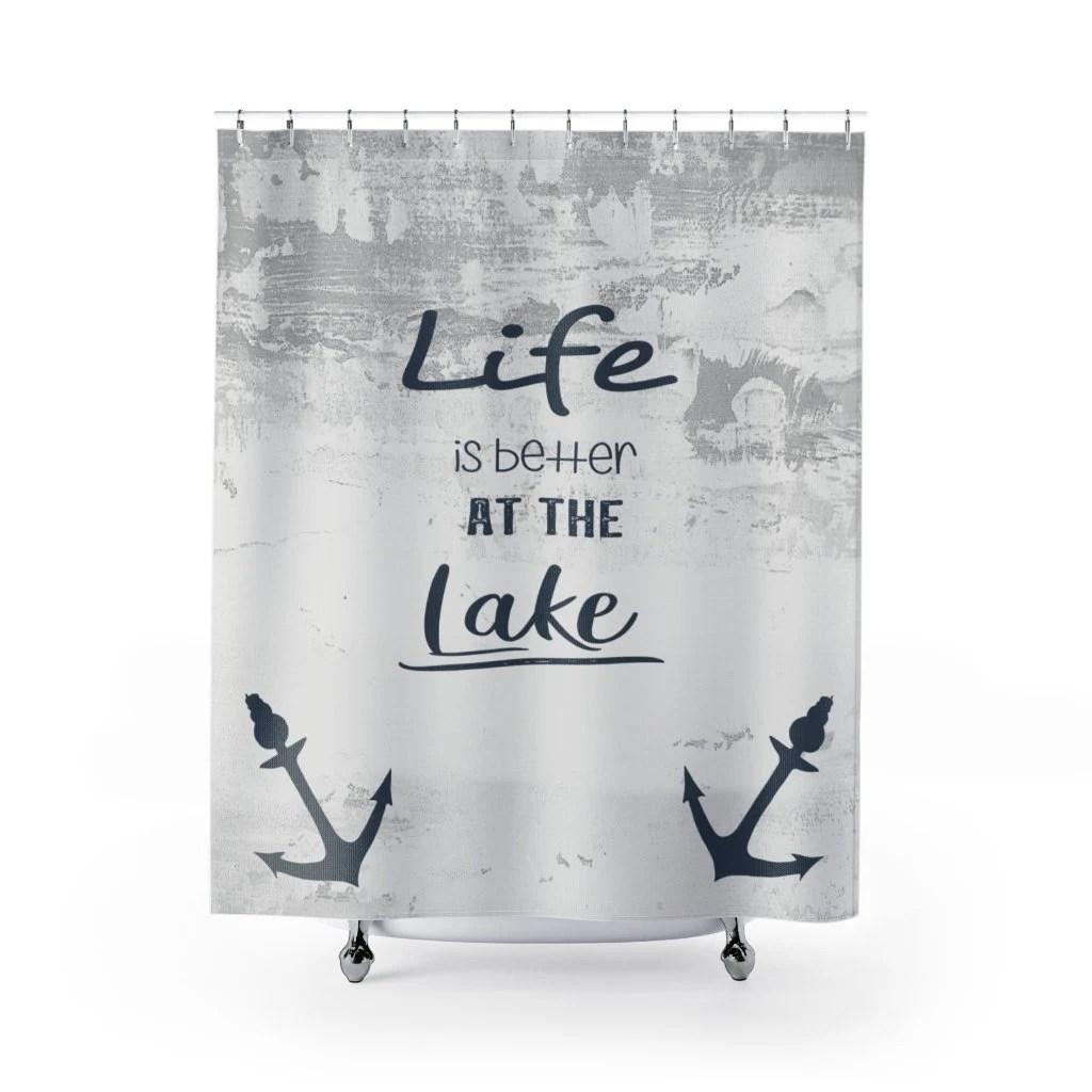 lake shower curtain etsy