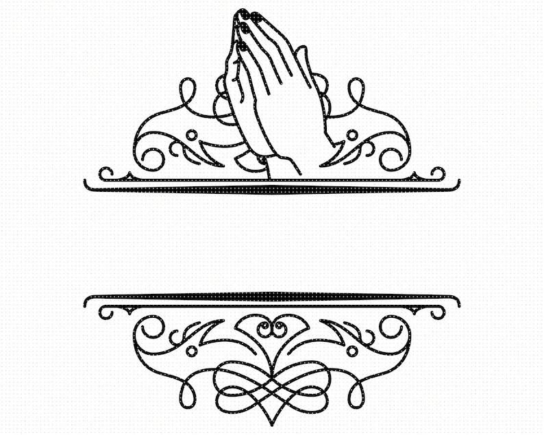 Praying hands split monogram svg praying hands split frame
