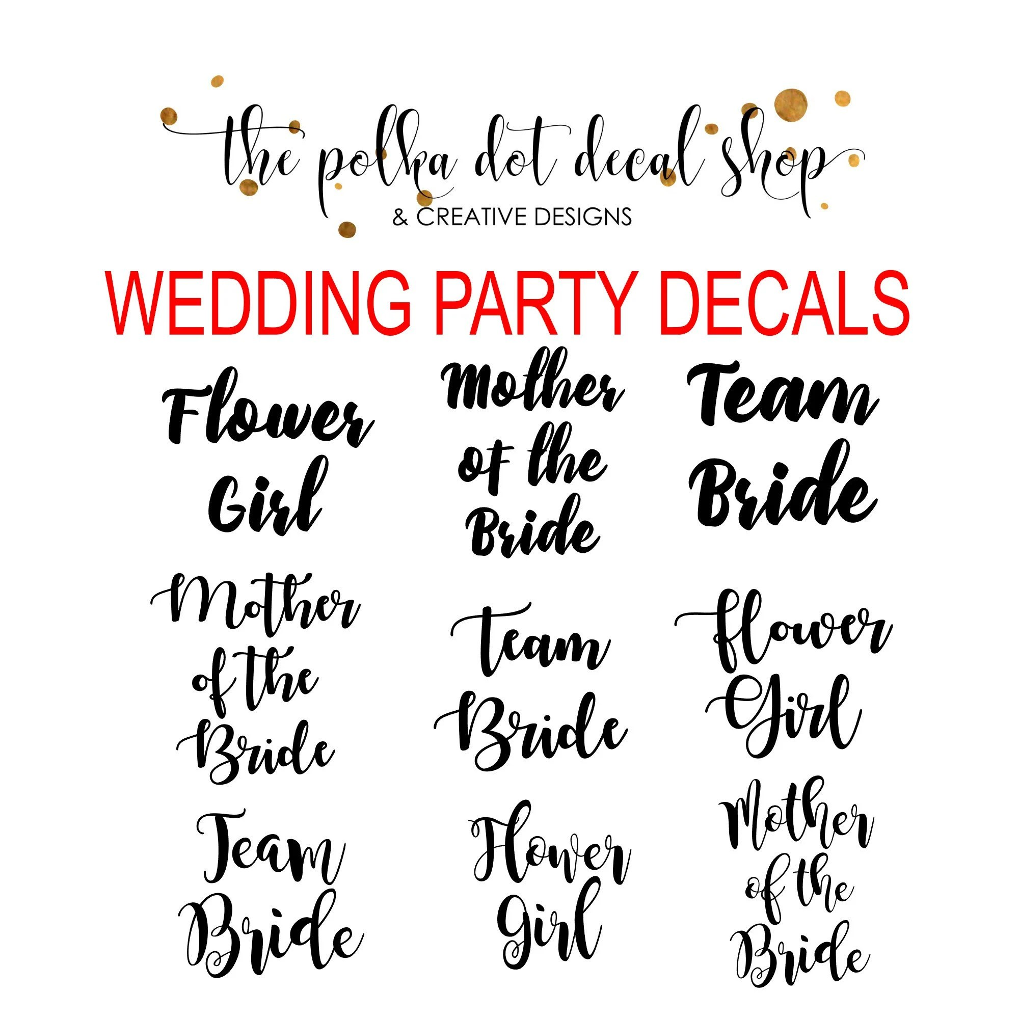 wedding party decals bridesmaid decal maid of honor decal image 2