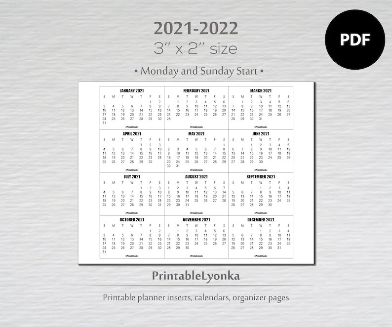 RENEW 3 x 2 inch mini Calendars 2021-2022/ Small printable ...