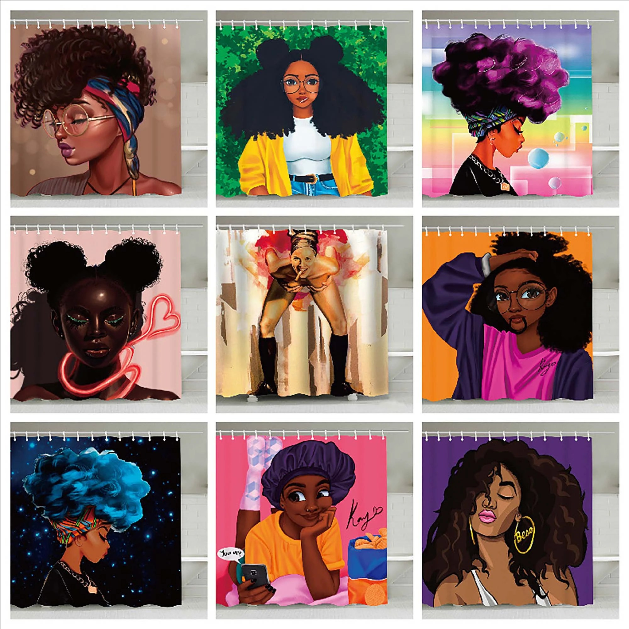 afro shower curtain etsy
