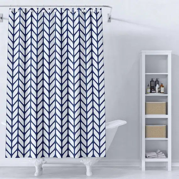 navy herringbone shower curtain geometric shower curtain modern shower curtain bath curtain modern bathroom decor bath decor mod bath