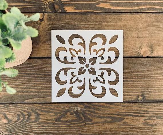 reusable tile stencildecorative tile stencil floor tile etsy