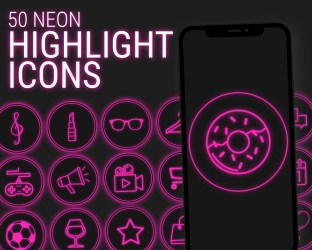 50 Neon Highlight Icons Pink Neon Instagram Story