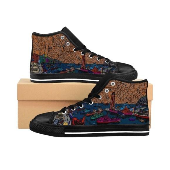 Cool Art Hi Top Sneakers 2  Retro custom gift handmade pop imagem 0