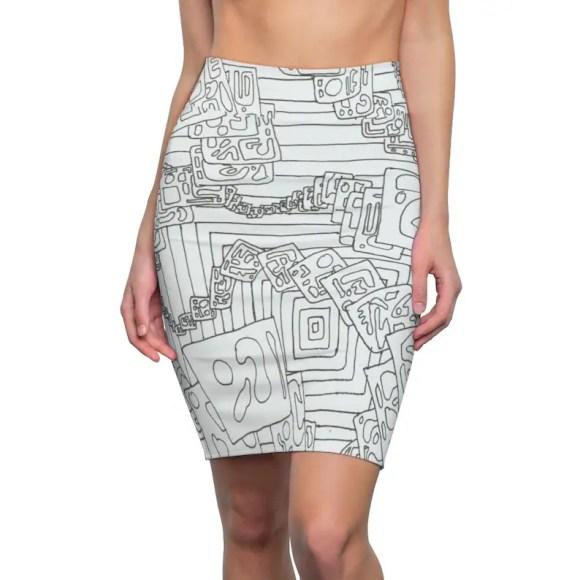 Urban Art Pencil Skirt 2  Retro custom gift  skirts dresses image 0