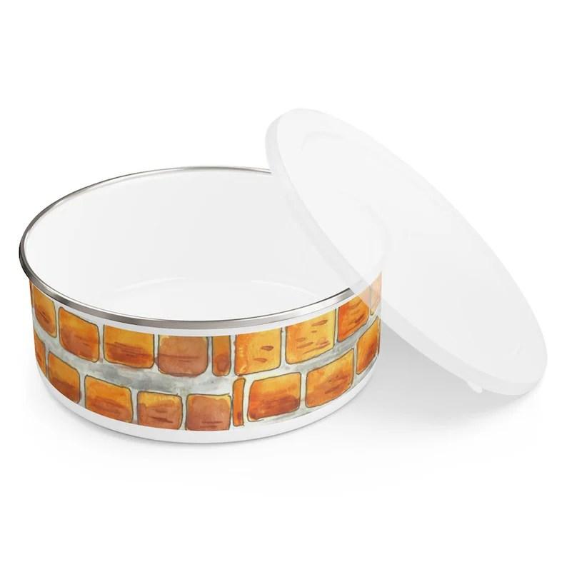 Urban Art Enamel Bowl 3 sizes 6  Retro custom gift image 0