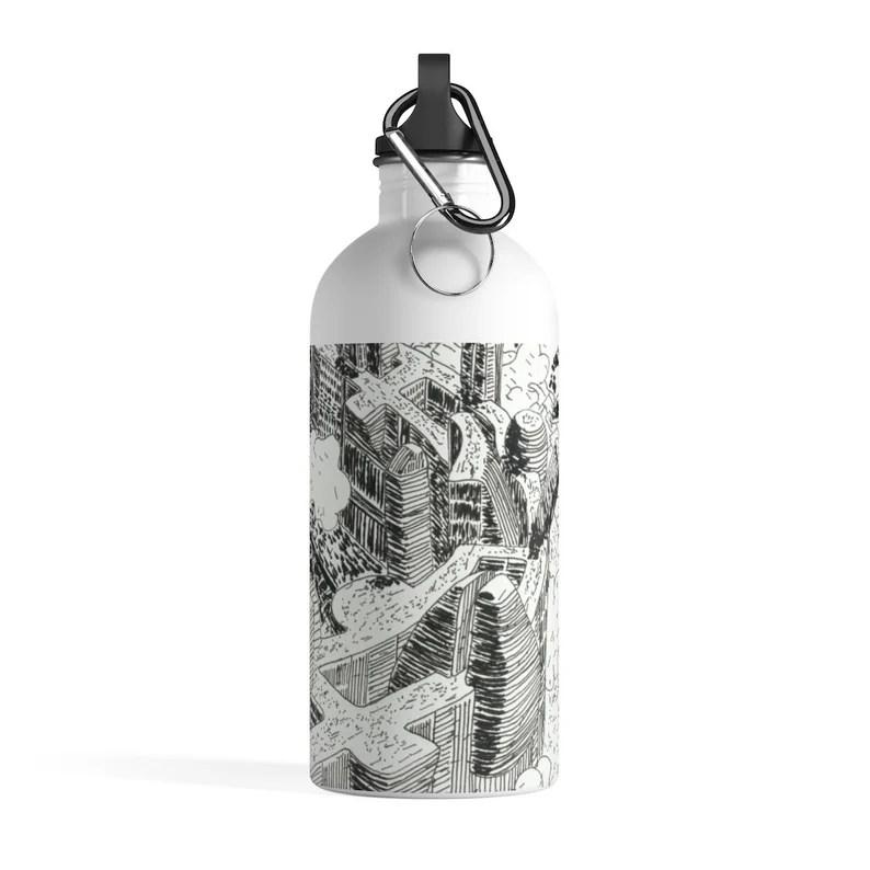 Urban Art Water Bottle 11  Retro custom gift pop art line image 0