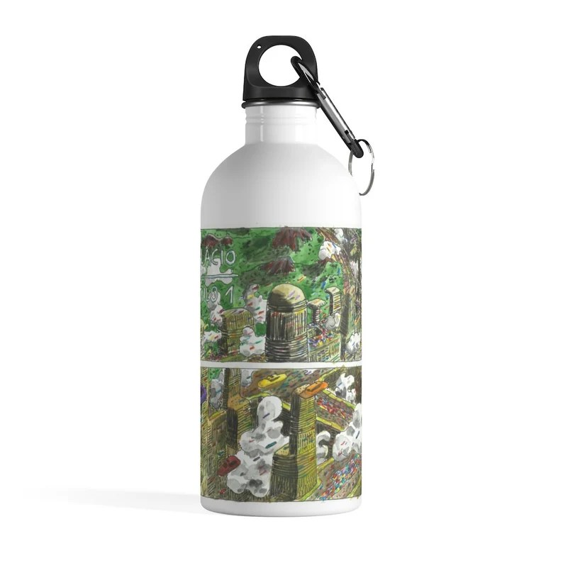 Cool Art Water Bottle 35  Retro custom gift pop art line image 0