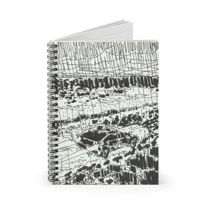 Ruled Line Spiral Notebook With Cool Art Cover 16  Retro image 0