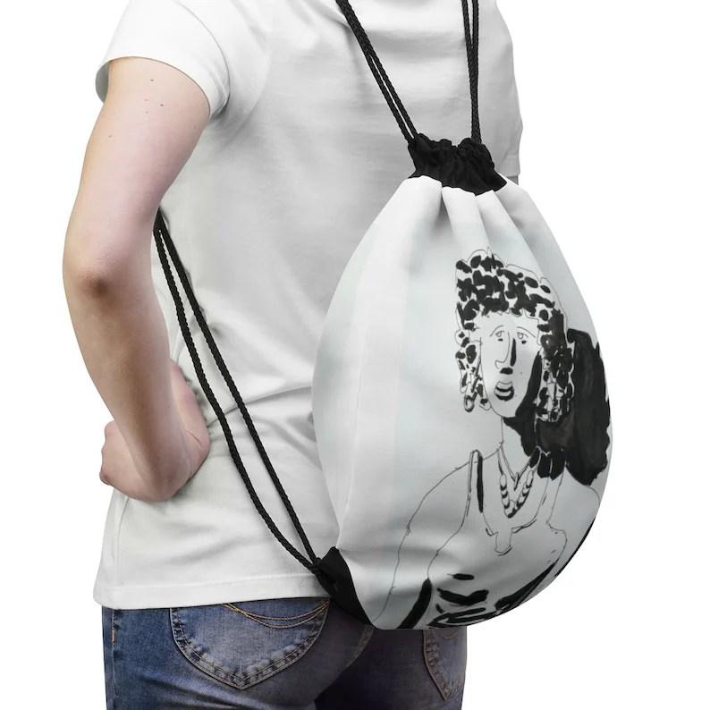 Cool Art Drawstring Bag 9  Retro custom gift aesthetic pop image 0