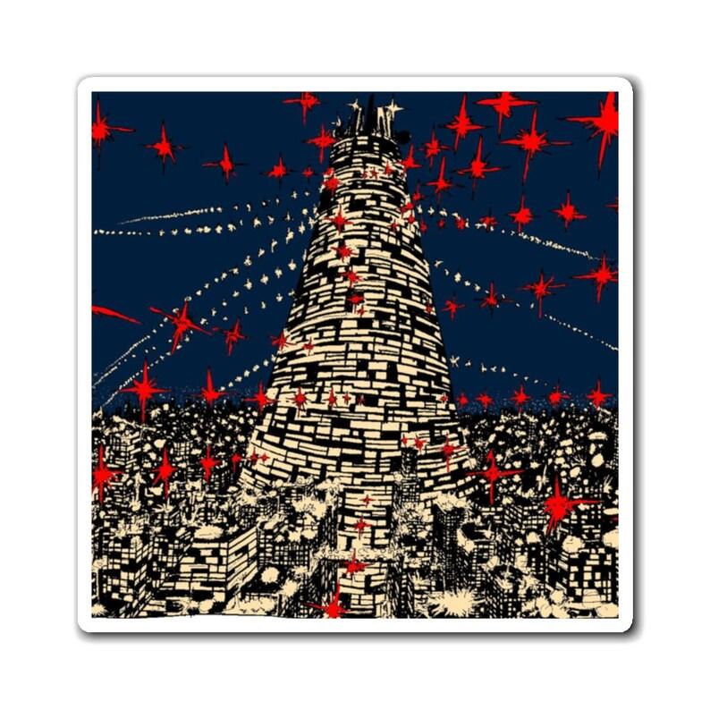 Urban Art Magnet 6  Retro custom gift line art pop art image 0