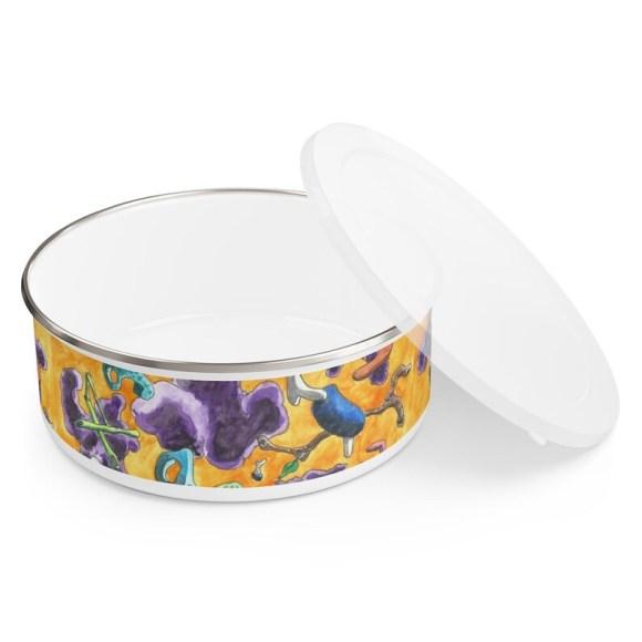 Urban Art Enamel Bowl 3 sizes 4  Retro custom gift image 0