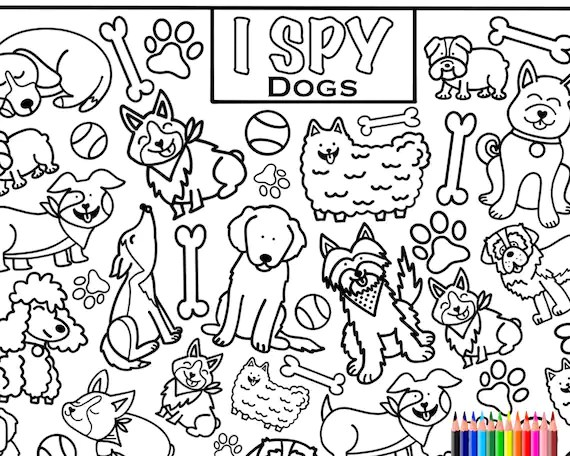 I Spy Dogs Coloring Page Printout Download Colouring