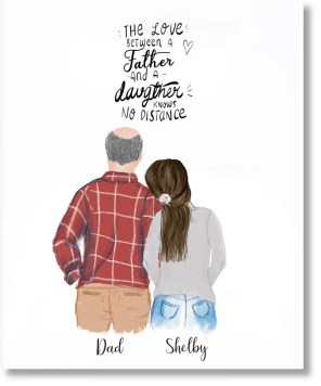 Father and daughter custom portrait gift idea for dad gift image 2