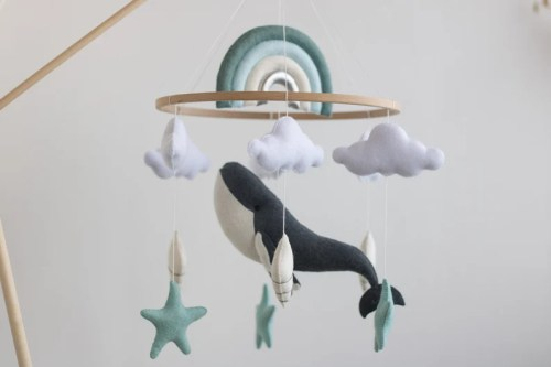 Ocean nursery baby mobile-Whale baby mobile-Under the sea image 0
