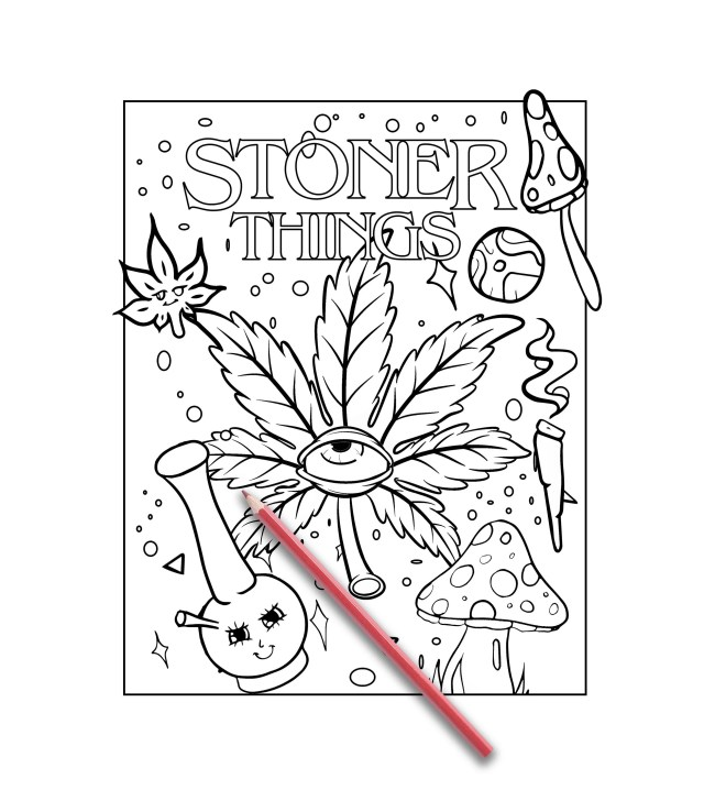 Stoner coloring page, colouring page for adults Stoner Coloring Book for  Adults, weed stuff, adult coloring book, stoner gift, marijuana art