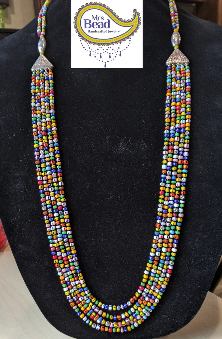 Multi Color Glass Seed Bead Multi Strand Beaded Necklace image 0