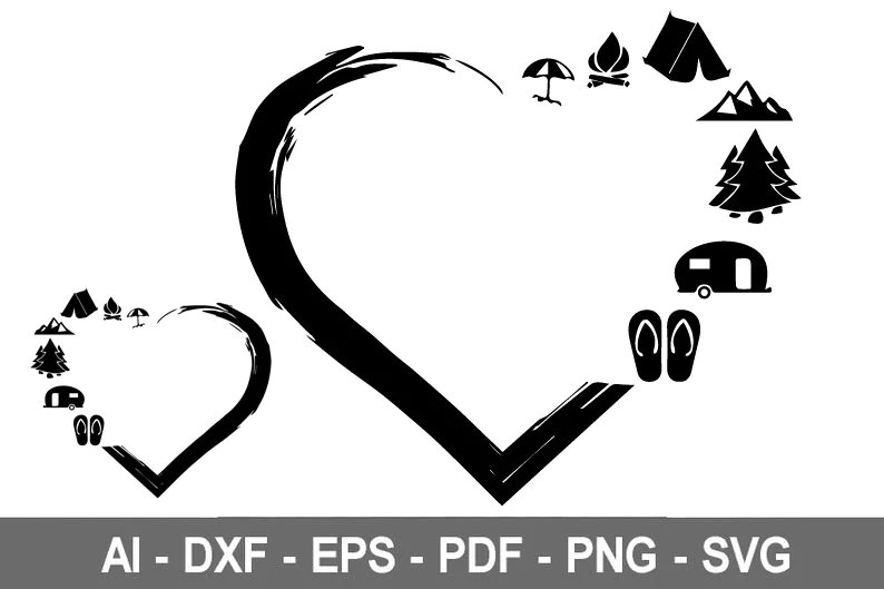 Download Heart Camping svg Travel Camping Heart svg Heart svg Love ...