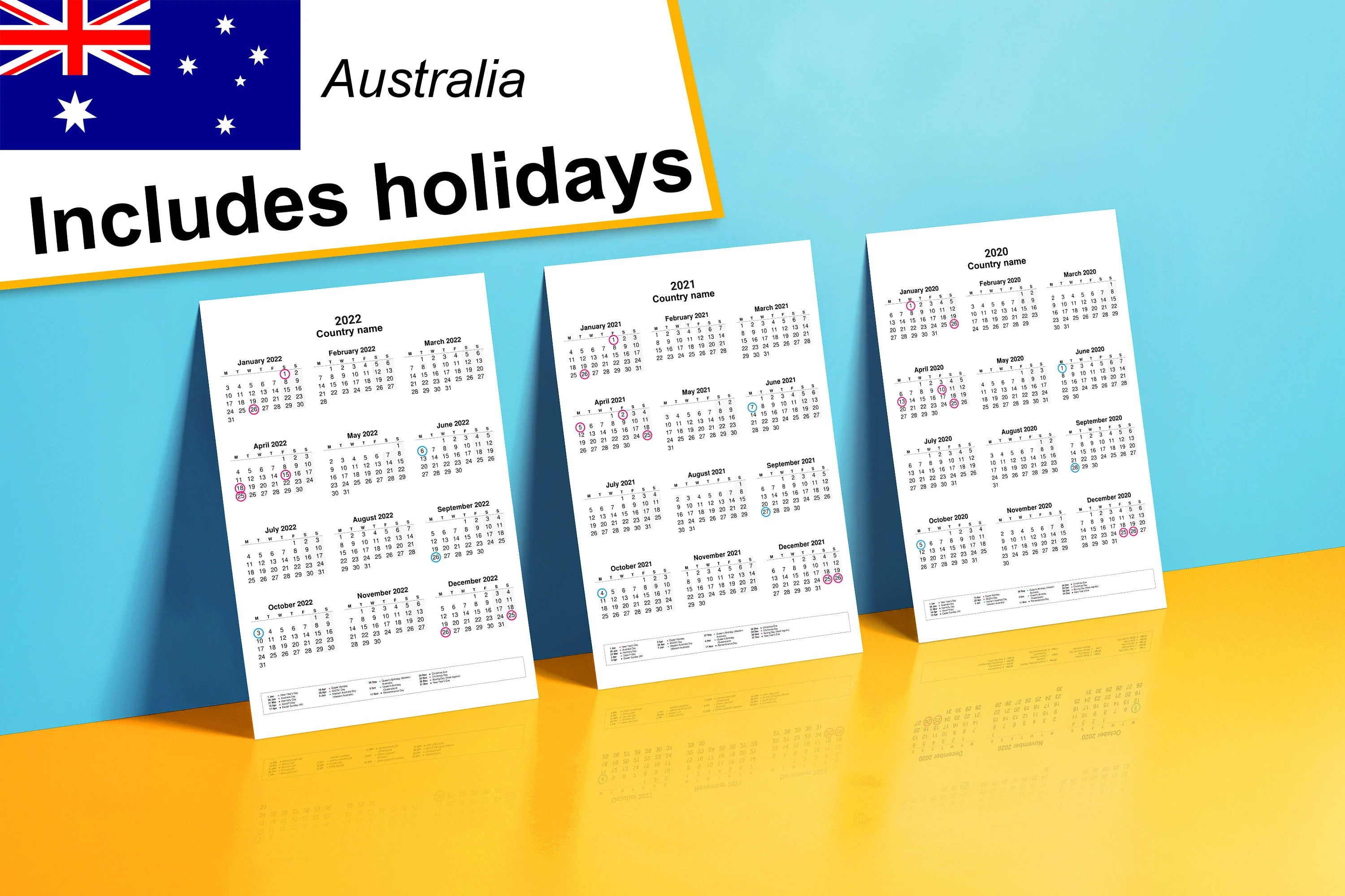 The calendars have large 2021 dates. 2020-2022 yearly calendar with holidays for Australia Year ...