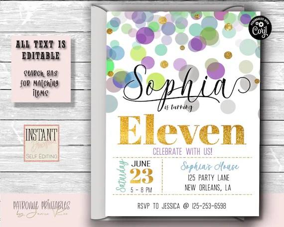 11th birthday party invitation polka